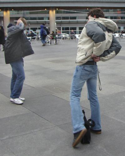 Conor Anderson and Jason Yokam, right, at Dundas Square yesterday.