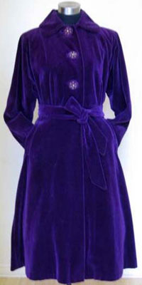 Victoria Dinnick's store Gadabout includes such items at this 1940s purple velvet coat.