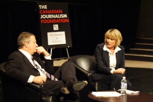 Tony Burman shares the stage with moderator Susan Ormiston during Tuesday night's discussion about Al Jazeera television.