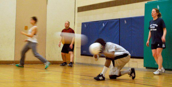 Members of Toronto Dodgeball work out at Milne Valley Middle School in North York. To stay in the game, players often use balls to deflect those coming at them.