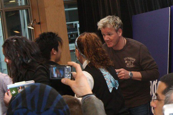 Gordon Ramsay signs a copy of his latest book, Gordon Ramsay's Healthy Appetite, for a fan. Some arrived at the Eaton Centre Indigo as early as 5:00 a.m. on Feb. 9 for a chance to meet the famous chef.