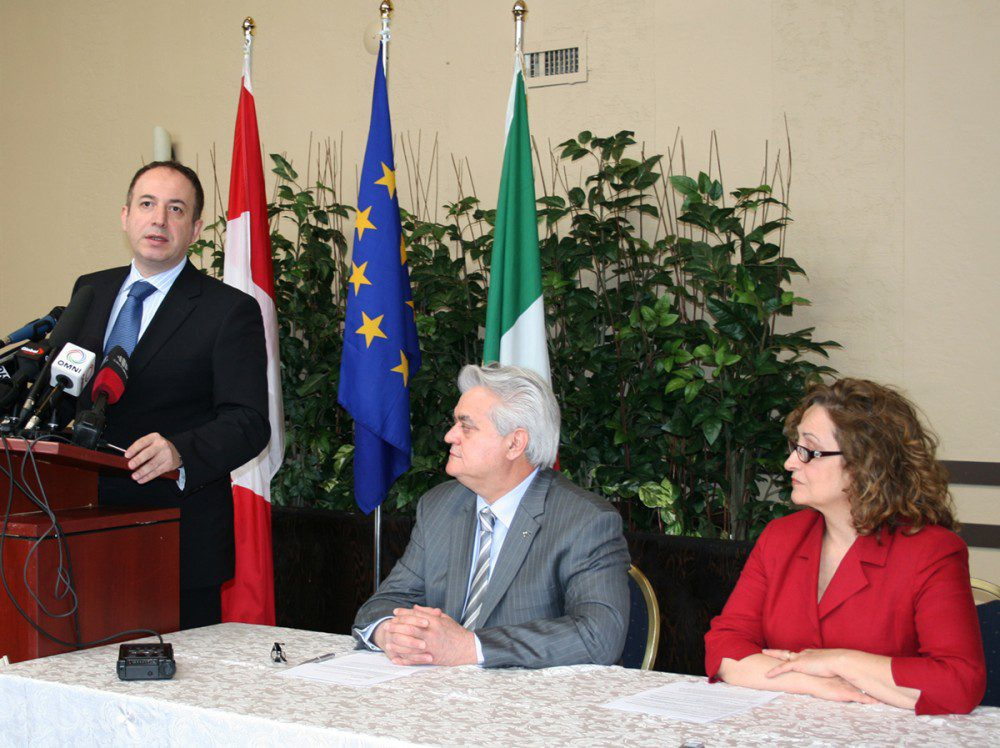 Vaughan MP Maurizio Bevilacqua, the Grand Prior of Canada Mario Cortellucci and Ivana Facasso, president of the Abruzzese Federation, discussed joint relief efforts for the residents of Abruzzo, Italy, hit hard earlier this week by a powerful earthquake.