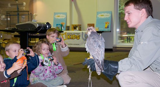 Cere, a 13-year-old lanner falcon, gets up-close-and-personal with some kids during World Animal Day festivities at the Toronto Zoo. The zoo celebrated its second World Animal Day, which falls on Oct. 4, with a weekend-long celebration Oct. 2–3.