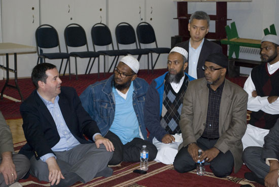 Jason Kenney, MP, PC, Minister of Citizenship, Immigration and Multiculturalism addressed issues of visas and immigration with the local community at the Masjid Al-Jannah in Scarborough on Oct 1.