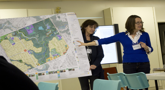Chater points to a map of the Morningside area produced by the TRCA