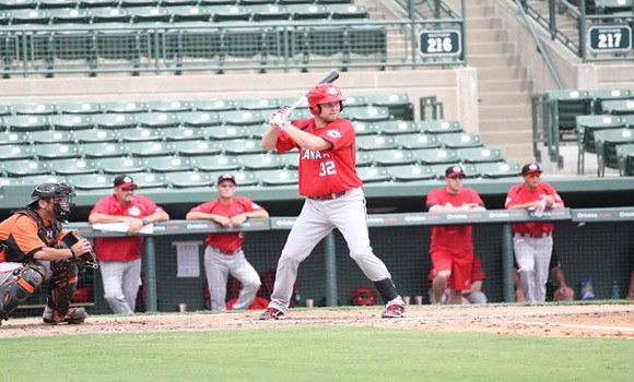 Catcher Chris Robinson was strong at, and behind, the plate in game one against Britain. He will split time with Cole Armstrong during the qualifier.