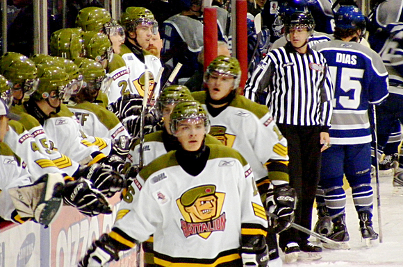 The Brampton Battalion take on the Josh Leivo's Sudbury Wolves in OHL action this past weekend.
