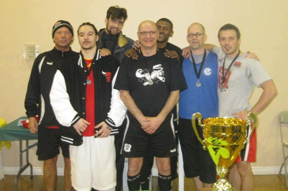 Street Soccer Canada at the Corporate Cup with Paul Gregory standing second from right.