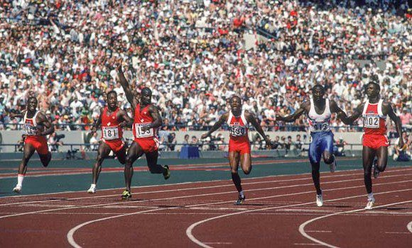 Ben Johnson crosses the line first at the 1988 Olympics in Seoul. The 100 metre winner would lose his gold medal hours later after testing positive for a steroid.