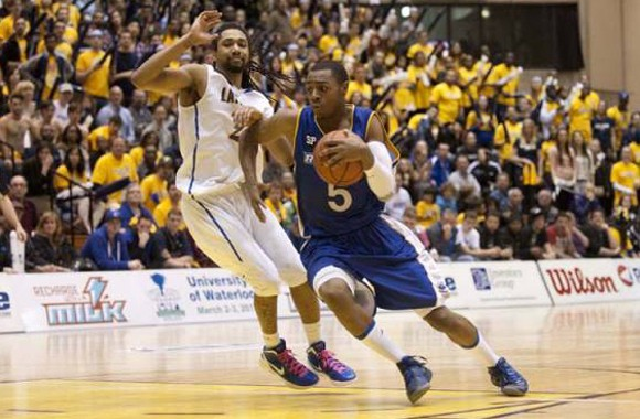 Aaron Best was a star rookie last year, here pictured driving to the net against Lakehead in the OUA playoffs