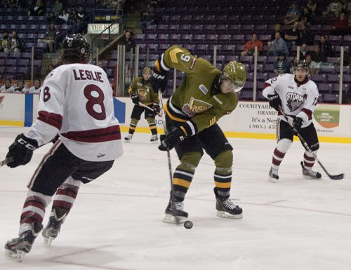 Brampton's Brandon Robinson corrals the puck as he looks for the hat trick in the third period versus the Guelph Storm on Thursday night. The Battalion won their fourth straight exhibition game.