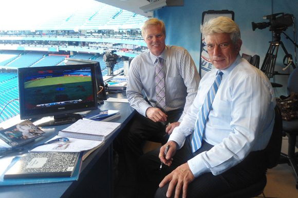Buck Martinez and Pat Tabler from their broadcast booth at the Rogers Centre.