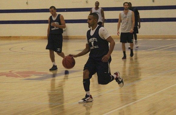 Fifth-year guard Arun Kumar pulls up in transition and hits a three-pointer