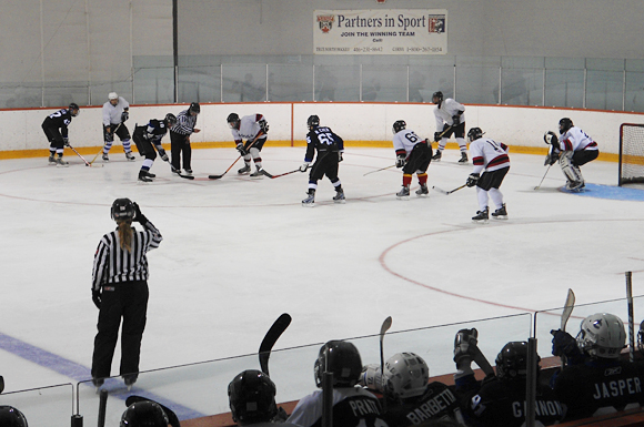Recreational players line up for a faceoff at the Rinx complex in Toronto.