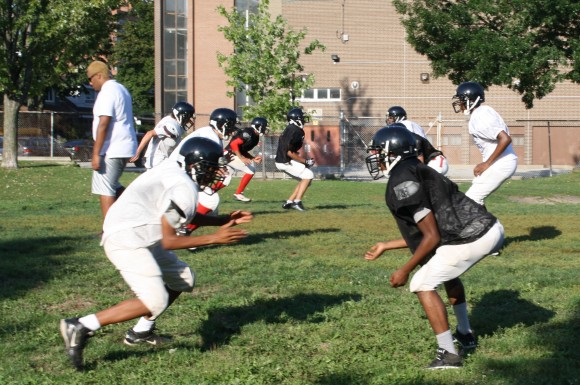 Eastern Commerce/Monarch Park players go through practice on Thursday. The team, started with help from the Rob Ford Foundation, is now in its fourth season.