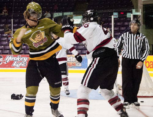 It'll be a fight for the Eastern Conference crown and every team isn't afraid to pull punches as Brampton's Geoff Bezruchko and Guelph's Chadd Bauman proved in an exhibition game on Thursday.
