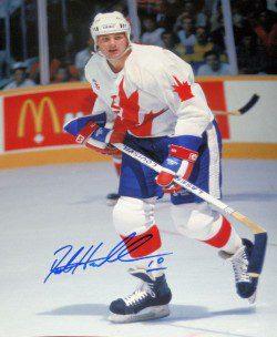 This signed Dale Hawerchuk photo from the next Canada Cup after 87 (1991) was a featured item on the Legends Depot web site.