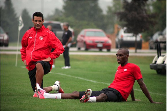 Atiba Hutchinson, right, and teammate Ante Jazic look on during training. Hutchinson has enjoyed a great start to his club season with PSV Eindhoven.