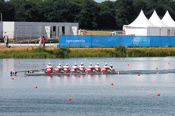 Canada's Women's Eight team competes in their second heat at the London 2012 Olympics. Canada would end up winning silver in the finals.