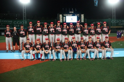 Canada's U18 baseball team poses with silver medal in Seoul, South Korea.