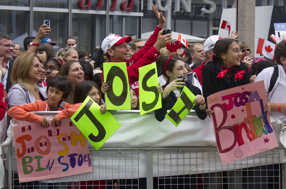 Family and friends of Josh Binstock have been loyal supporters of the Olympic beach volley baller's journey, following him to London for the 2012 games, and turning out earlier today as Toronto celebrated Canada's Olympic and Paralympic athletes.