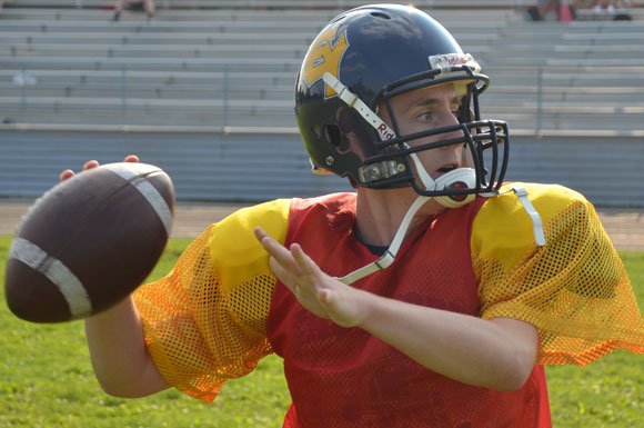 Johnathan Patriquin-Luedee is East York Goliaths returning senior quarterback competing with rookie senior QB, Chris Larsen for the position.