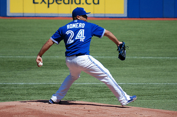 Ricky Romero throwing a pitch at the Rogers Centre.