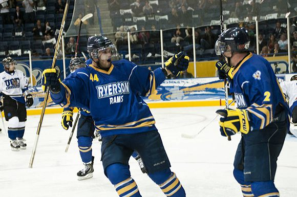 The Ryerson Rams celebrate scoring a goal during their first ever game at the new Mattamy Athletic Centre at the Gardens.