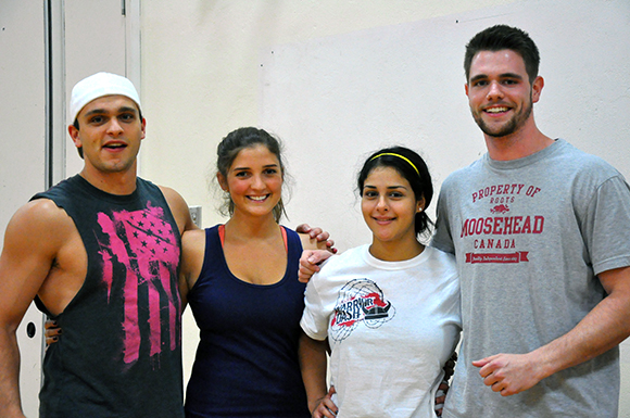 Meet some of the players of DudeBros (from left to right): Jeff Stinson, 23, Marie Andic, 23, Melika Azodi, 22, and Patrick Bruce, 23. It is the first time all four players have been part of a competitive dodgeball team.