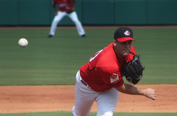 Mississauga native Shawn Hill pitched five and 2/3 innings in Team Canada's 11-1 win over Great Britain on Thursday.