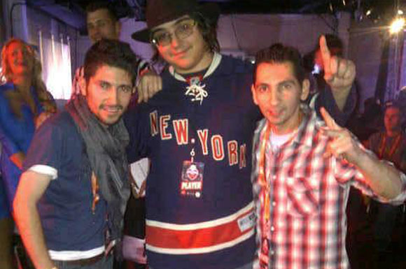 Wayne Morales [far left] and his brother Gary Morales [far right] met up with one of the gamers from the NHL online community at the 2012 EA Sports Challenge in NYC.