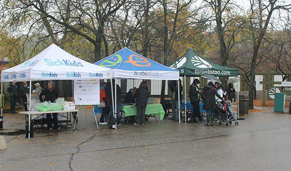 Participants line up to register for Herbie Fund's second annual Walk for the Children held Oct. 14 at the Toronto Zoo. With their passport in hand, the participants are ready to begin their walk through the zoo ending with a barbeque at the picnic grounds.