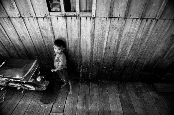 Cambodia, child at Boueng Kak Lake. 
