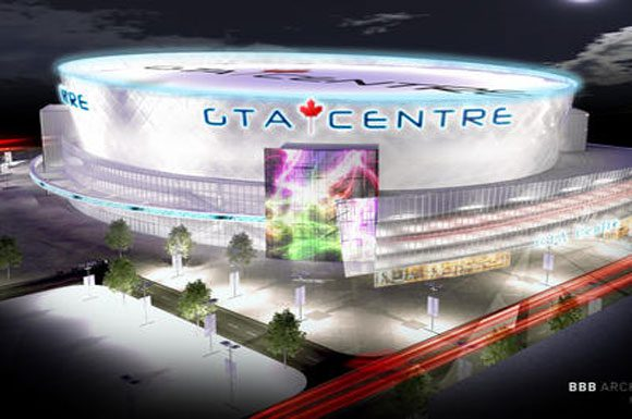 An illustration from BBB Architect who is behind the development of the Air Canada Centre has teamed up with GTASE to build the new arena in Markham.