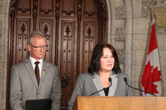Scarborough MP Roxanne James stands alongside Senator Pierre-Hugues Boisvenu in Ottawa after her bill was passed again on Sept. 26.