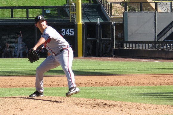 Cory Rasmus delivers a pitch against the Salt River Rafters.