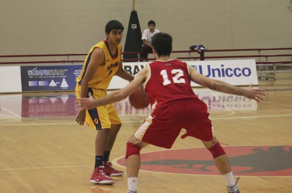 Sukhpreet Singh sizes up a Laval defender at the House-Laughton tournament