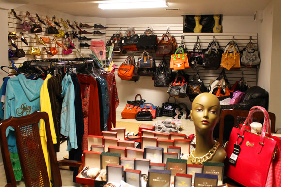 Joyce Ireti's home-based store in Toronto. In it she sells bags, clothes,  jewelry and shoes.