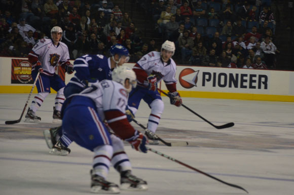 The Hamilton Bulldogs defeated the Toronto Marlies 4-1 in the first game of the home-and home-series at their home opener on Friday.
