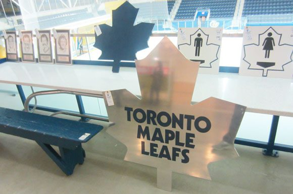 The Toronto Maple Leafs logo that once hung outside the home team's dressing room are among the item's that can be seen at the Mattamy Athletic Centre until Saturday.