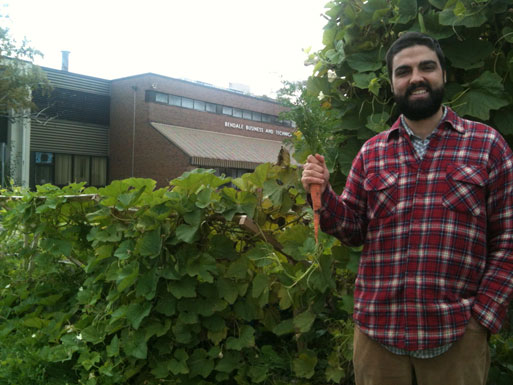 Justin Nadeau, School Food Garden and Environmental Education Co-ordinator at FoodShare stands in front of one Bendale Business and Technical Institute's gardens. The Scarborough school grows such produce as okra, tomatoes and carrots, like the one Nadeau is seen here holding.