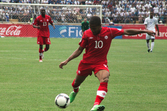 Simeon Jackson in action against Honduras
