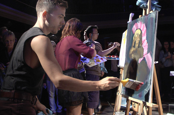 Craig Skinner, a recent OCAD graduate, competes in his first Art Battle.