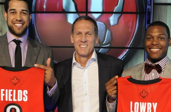 GM Bryan Colangelo stands with new recruits Fields and Lowry