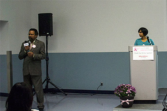 Dr. Sailaja Nallapaneni, right, explains the benefits of mammograms as Dr. Narayanan Nandagopal translates the information into Tamil. The Scarborough Hospital's Breast Reconstruction Awareness Day presentations on Oct. 17 were offered in English, Chinese and Tamil to serve Scarborough's diverse population.