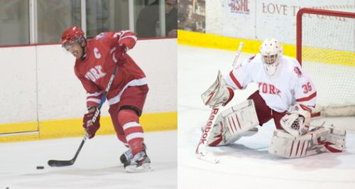 Jesse Messier (left) and Andrew Perugini are key parts of the backbone of York's men's hockey team