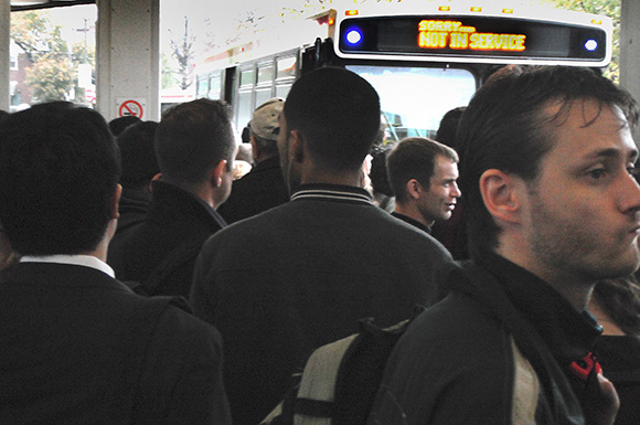 The TTC's Broadview station was packed with commuters Tuesday afternoon.