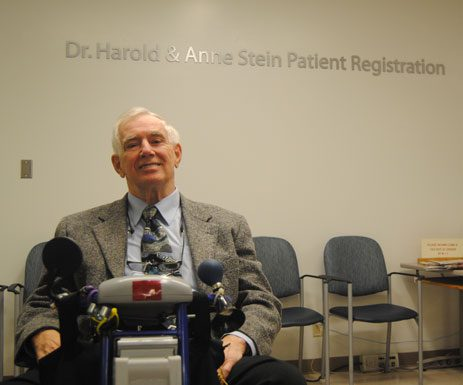 Dr. Harold Stein's $1M donation to The Scarborough Hospital is commemorated by renaming the hospital's patient registration area in his family's honour.