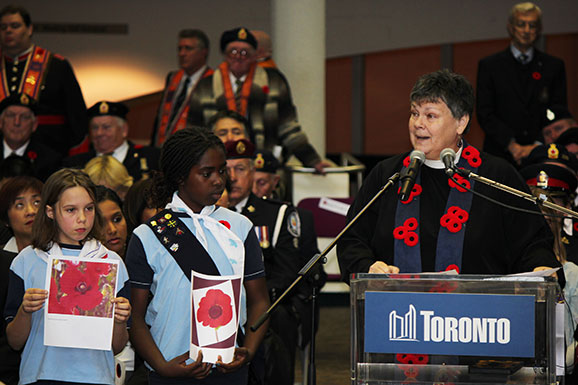 Girl Guides give presentation on the poppy as a Remembrance Day symbol at Scarborough Civic Centre.