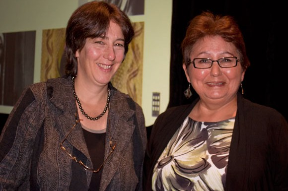Karen Polak and Margaret Brigham, Dean of the Institute for Global Citizenship and Equity at Centennial College, shared personal experiences during Holocaust eduction week.